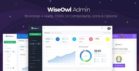 WiseOwl - Modern & Clean Responsive Bootstrap 4 Admin Template            TFx Tarquin Leroi
