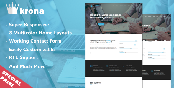 Blue Crown – One Page Parallax            TFx Adam Carlton