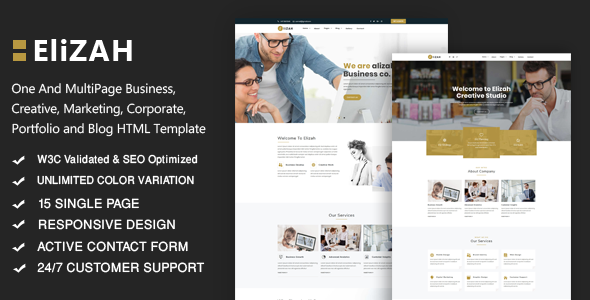 Elizah – Business And Corporate Responsive Website            TFx Taichi Rodger