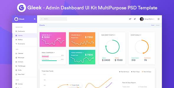 Gleek - Admin Dashboard UI Kit MultiPurpose PSD Template            TFx Darby Leroy