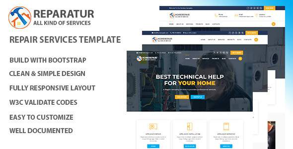 Homerepair – Maintenance Services HTML Template.            TFx Thaddeus Anthony