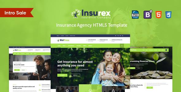 Insurex - HTML5 Insurance Template            TFx Glenn Xzavier