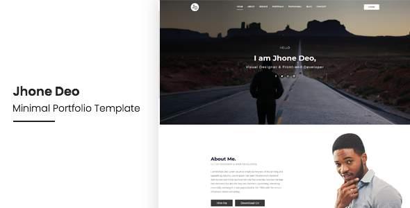 Jhone Deo Minimal Portfolio OnePage Template            TFx Neal Wystan