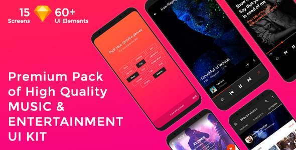 Musica - Music , Video & Entertainment UI KIT for Sketch            TFx Raharjo Jaron