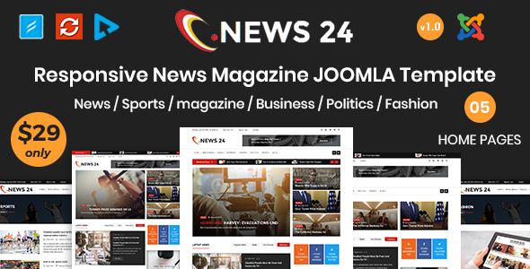 News24 – News and Magazine Joomla Template            TFx Bidziil Voski