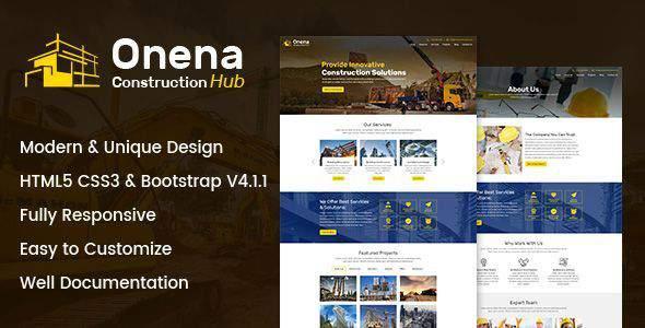 Onena Construction Hub HTML Template            TFx Lamont Buddha