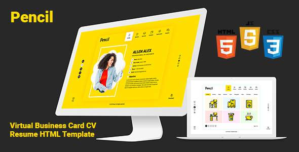 Pencil- Virtual Business Card CV Resume HTML Template            TFx Craig Mortimer