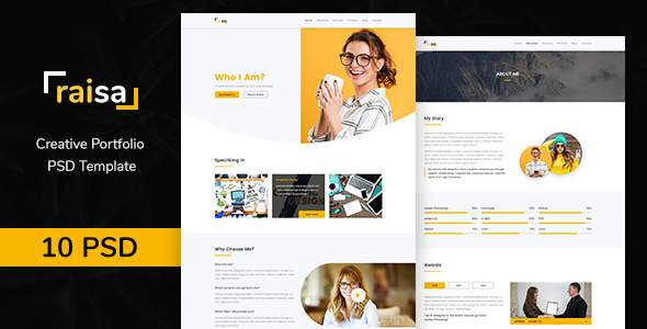 Raisa – Multipurpose Business Agency/Personal Portfolio PSD Template            TFx Matt Susumu