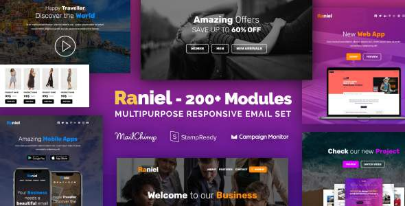 Raniel - Responsive Email with 200+ Modules + MailChimp Editor + StampReady + Online Builder            TFx Dex Wibowo