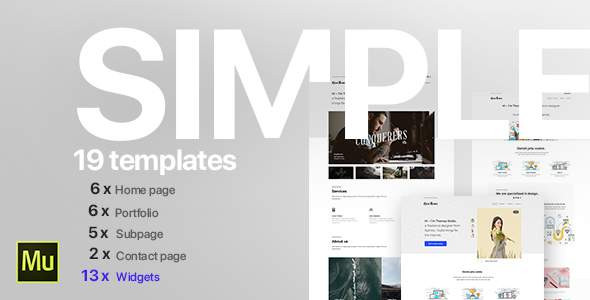 Simple - Creative Portfolio Muse CC Templates and Widgets for Adobe Muse CC            TFx Toby Naomi