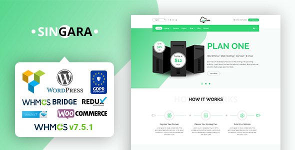 Singara - Multipurpose Hosting with WHMCS WordPress Themes            TFx Daniel Zavier