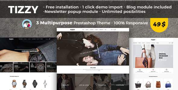 Tizzy – Multipurpose Responsive Prestashop 1.7 Theme | Fashion Store | Watch Store | Bag Store            TFx Ollie Kip