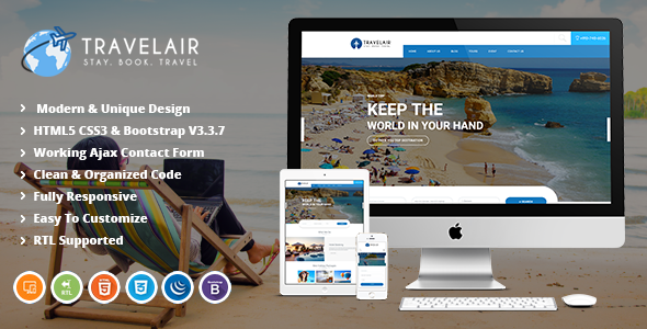 Travelair | Travel & Tour Booking HTML5 Template            TFx Hovo Bryon