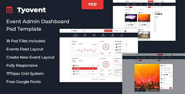 Tyovent – Event Management Dashboard Psd Template            TFx Meade Jed