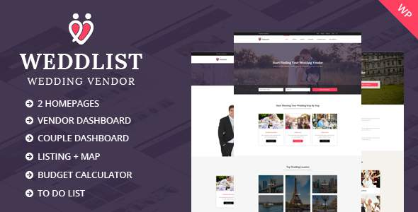 Weddlist – Wedding Vendor Directory WordPress Theme            TFx Jessie Elvis