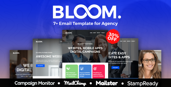 BLOOM - Multipurpose Agency Email Template With StampReady, Mailster, Mailchimp, Campaign Monitor            TFx Rafe Harlow