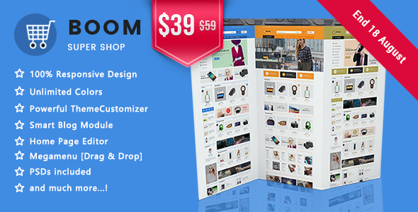Boom - Clean Super Shopping Responsive Prestashop 1.7 Theme            TFx Chile Sevan