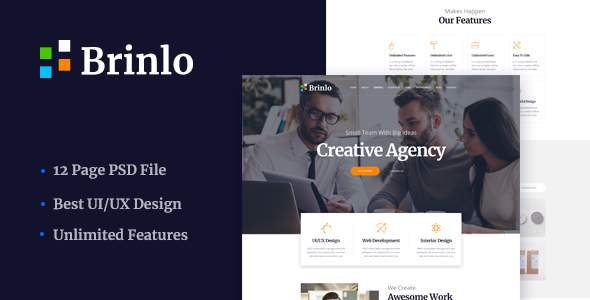 Brinlo - Creative agency startup business corporate PSD Template            TFx Gary Wenceslas