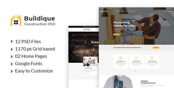 Buildique - Construction PSD Template            TFx Yancy Ivor