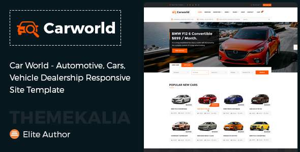Car World - Vehicle Dealership Responsive Site Template            TFx Knox Alger