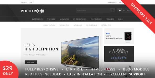 Encore – Electronics OpenCart 3.0.x Theme            TFx Bleda Placid