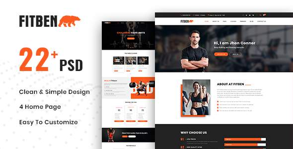 FITBEN | Fitness & Gym PSD Template            TFx Ralph Moses