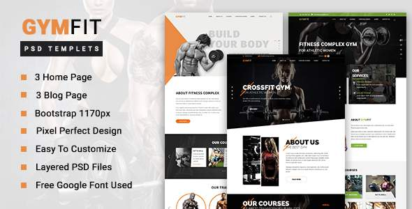 GYM FIT - Gym & Fitness PSD Template            TFx Pace Gerrard