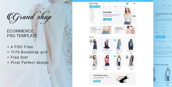 Grand shop - Responsive eCommerce PSD Template            TFx Maquinna Errol