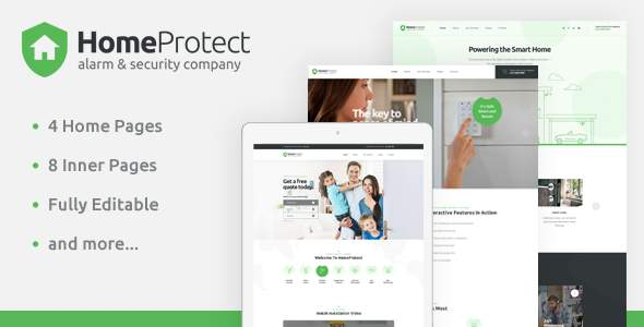 HomeProtect - Smart Alarm & Security Systems PSD Template            TFx Ocean Amias