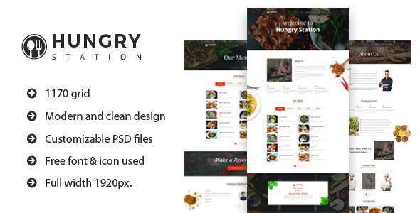 Hungry Station - Restaurant Website PSD Template            TFx Sam Wibawa