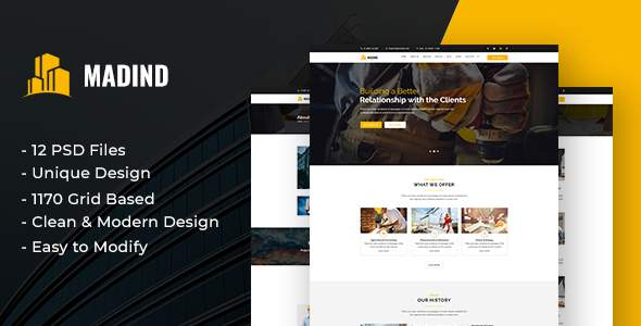 MADIND - Construction Business PSD Template            TFx Manuel Omar