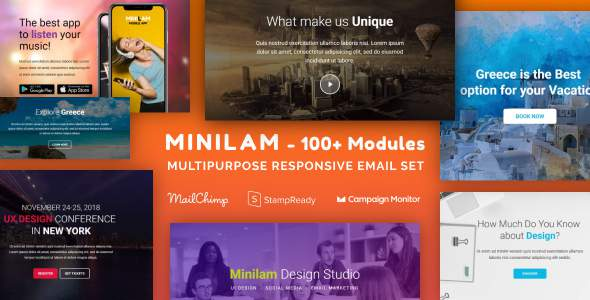 Minilam - Responsive Email with 100+ Modules + MailChimp Editor + StampReady + Online Builder            TFx Franklin Chet