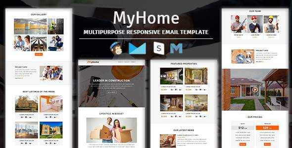 MyHome - Construction Responsive Email Template With Stampready Builder Access            TFx Ferdy Upton