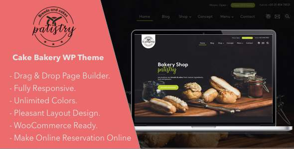 Patistry - Cake & Bakery WordPress Theme            TFx Silas Tayler