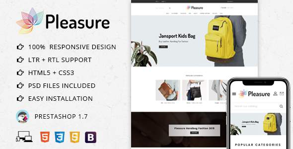 Pleasure Bag Store – Prestashop 1.7 Theme            TFx Harry Cory