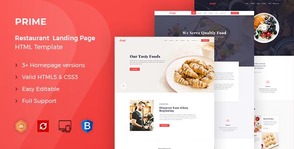 Prime - Restaurant Landing Page HTML Template            TFx Meriwether Brenden