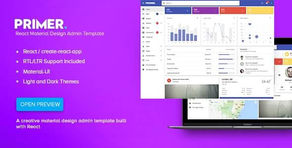 Primer - React Material Design Admin Template            TFx Fletcher Cajetan