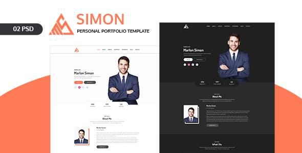 Simon -  Personal Portfolio Landing Page PSD Template            TFx Mordikai Mitch