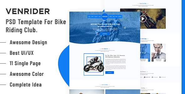 VenRider - Bike Rider Club PSD Template            TFx Laurence Quinton