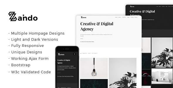 Zando - Creative Minimal Portfolio Landing Page            TFx Hikari Garland