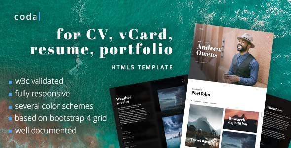 coda – CV, vCard, Resume, Portfolio HTML Template            TFx Sherwood Reginald