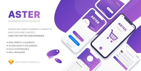 Aster - E-commerce Mobile App Sketch Template            TFx Cuauhtémoc Stacy