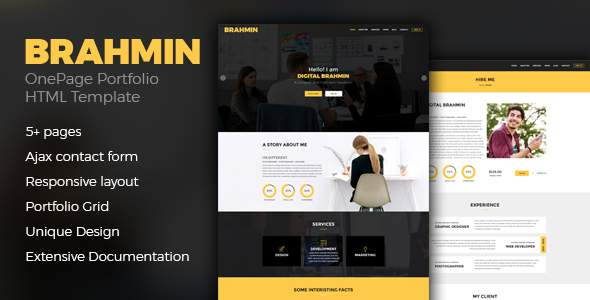 Bahmin – Responsive One Page Portfolio template            TFx Selby Krikor