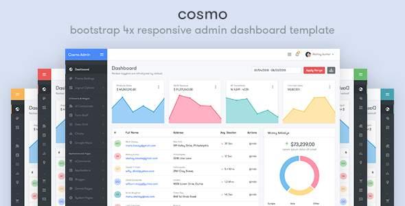 Cosmo - Bootstrap 4 Responsive Admin Dashboard Template            TFx Garth Everard