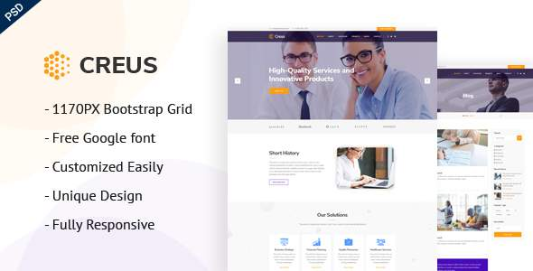 Creus - Consulting, Finance & Business PSD Template            TFx Shayne Saladin