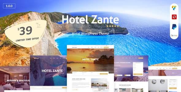 Hotel Zante -  Hotel WordPress Theme            TFx Sota Avedis