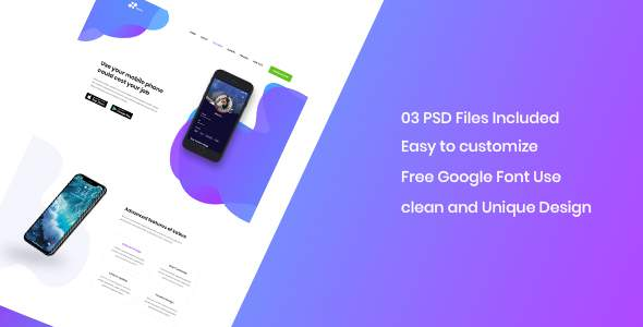 Kabus - clean and modern app landing page PSD template            TFx Clement Kaden