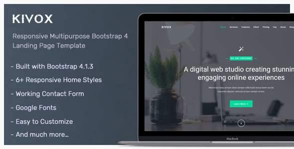 Kivox – Responsive Landing Page Template            TFx Keiran Burke