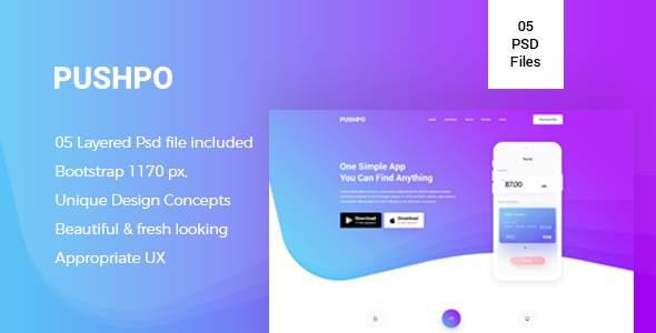 Pushpo – Creative App Landing PSD Template            TFx Melville Richard
