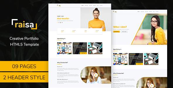 Raisa – Multipurpose Business Agency/Personal Portfolio HTML5 Bootstrap4  Template            TFx Ron Whitney